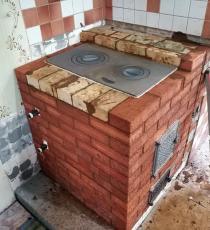 Кирпичная печь с котлом
